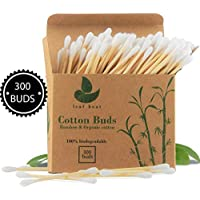 Bamboo Cotton Buds | 1 box (300 buds) | GOTS Certified Organic | Compostable & Biodegradable | Wooden Ear Swabs | Eco Friendly | Plastic Free | Sustainable Materials | Vegan | Recycled Packaging (300)