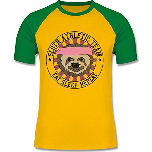 Statement Shirts - Sloth Athletic Team Faultier - zweifarbiges Baseballshirt für Männer Gelb/Grün