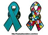 Dissoziative Identitätsstörung und Posttraumatische Belastungsstörung Bewusstsein Schleife Ehrennadel (pack von zwei)