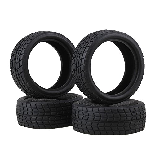 BQLZR Black RC 1:10 On-road Racing Car Rhombic Pattern Tire Convenient Use Pack of 4 (Spielzeug Reifen)