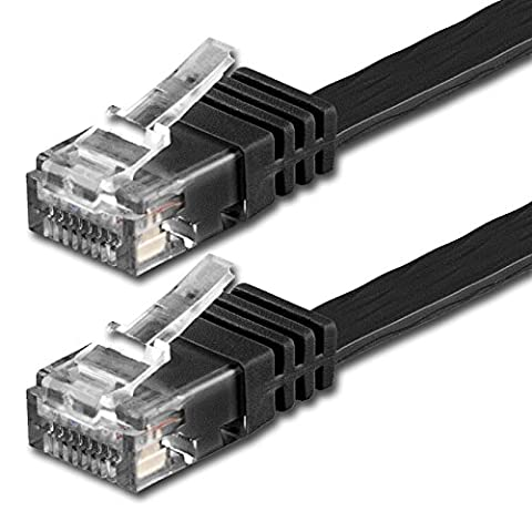 25m - Flat Cable CAT6 | black - 1 piece | 10/100/1000 Mbit/s | Gigabit LAN Networkcable | Flat | Slim | patchkabel | ribbon | lan cable | ideal for flooring , laminate, parquet , border strips , skirting boards ,