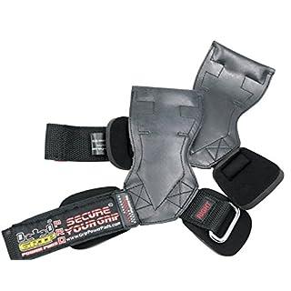 Lifting Grips PRO Weight Gloves Best Heavy Duty Straps Alternative to Power Hooks Deadlifts Adjustable Neoprene Padded Wrist Wrap (Black Rubber, Medium 6.50