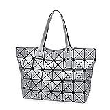 Le donne di ripiegamento del sacco in metallo opaco disegno Borsetta tracolla Borsa donna casual Tote maniglia geometrica borsa tracolla argento 32x26x12cm