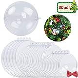 30 transparente Weihnachtskugeln, 3 Verschiedene Größen von Acrylkugeln, EIN 10m langes Seil als Geschenk, Hängender Kugel Durchsichtig Deko Kugel als Saisonal Deko Hochzeitsdeko