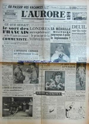 AURORE (L') [No 2085] du 26/05/1951 ...