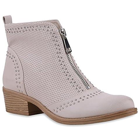 Damen Cowboy Boots Nieten Zipper Stiefeletten Holzoptikabsatz Schuhe 120679 Creme 38 | Flandell