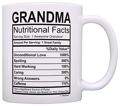 bb8f0b1e67c Mothers Day Gifts for Grandma Nutritional Facts Label Funny Gifts for  Grandma Gag Gift Coffee Mug