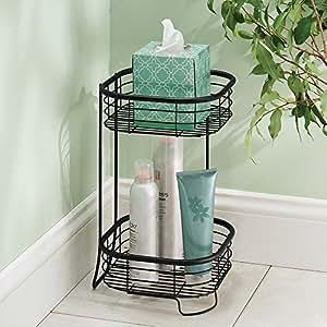 mDesign Bathroom Corner Shelf - Freestanding - Practical