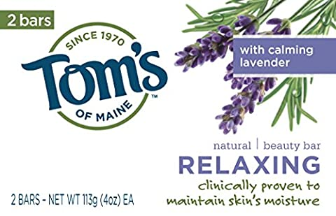 Tom's of Maine Relaxing, Natural Beauty Bar Soap, 4oz, with Calming Lavender 2 bars