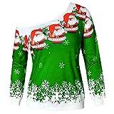 VEMOW Elegante Damen Oberteile Weihnachten Langarm trägerlos Slash Neck Sweatshirt Bedruckt Pullover Tops Bluse Hemd(Y2-Grün, EU-36/CN-S)