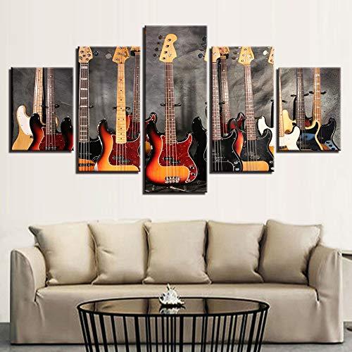 Zaosan Gemalte Wandbilder 5 Stück Bassgitarre Collage Musik Wohnzimmer Dekoration mit Rahmen