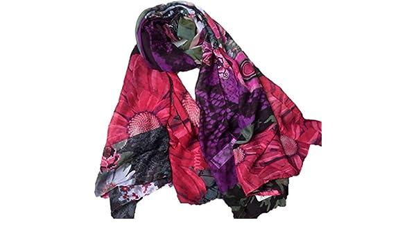 64508d7733ef0 Desigual - Foulard - Femme Violet aubergine Taille unique  Amazon.fr   Vêtements et accessoires