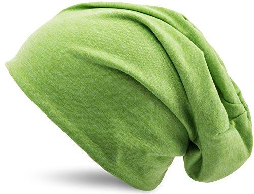 Jersey Baumwolle elastisches Long Slouch Beanie Unisex Mütze Heather in 35 verschiedenen Farben (3) (Heather Green) (Mint Grün Beanie)