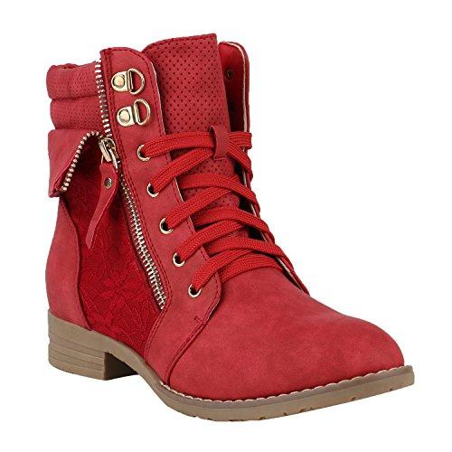 Damen Stiefeletten Schnürstiefeletten Worker Boots Zipper Schuhe 144299 Rot Autol 39 Flandell