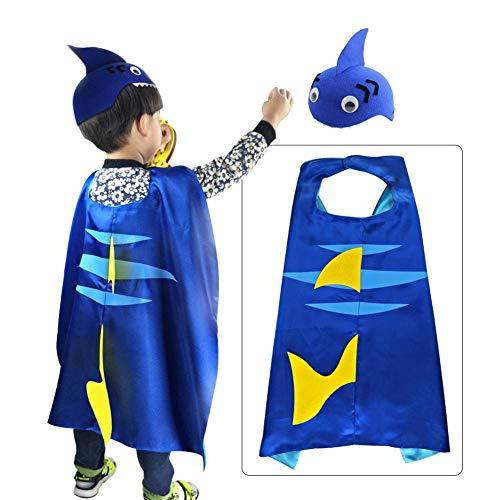 Diuspeed Performance-Kleidung, Hai-Umhang Performance-Requisiten Kinder Hai-Umhang-Hut-Set für Geburtstagsfeiern Maskerade Halloween-Kostüme