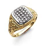 Jewelco London Herren-Ring Gold 9Karat (375) Zirkonia kubisch Cluster-Fassung