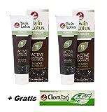 2 x 100g Twin Lotus Aktiv Kohle Zahnpasta gegen Mundgeruch mit natürlicher Wirkstoffen ohne Fluoride + 30g Twin Lotus Herbal