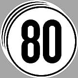 GreenIT 3 Stück 20cm Aufkleber Sticker 80 km/h kmh Geschwindigkeit Auto Pkw Bus Lkw Anhänger Schild