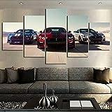 5 Pièce HD Voitures De Photos Imprimer Ford Mustang Shelby Affiche Toile Art Peintures Décoratives pour La Décoration Intérieure Art (Pas De Cadre)...