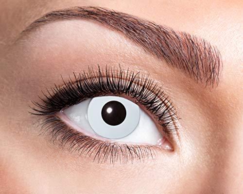 Eyecatcher - Farbige UV-Kontaktlinsen für 12 Monate, Neon weiß, 2 Stück Jahreslinsen, / BC 8.6 mm / DIA 14.5 mm
