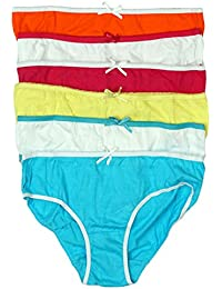 Just Essentials Girls Pack of 6 Plain Cotton Bright Briefs Knickers  Underwear Pants from 2 to 05ffc2c15