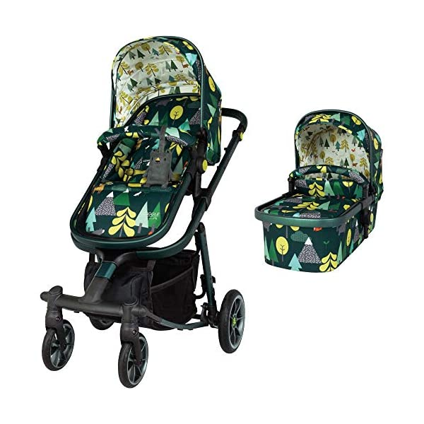 Cosatto Giggle Quad Pram & Pushchair Into The Wild Cosatto Enhanced performance. unique tyre material and all-round premium suspension give air-soft feel. Comfy all-round. spacious carrycot for growing babies.  washable liner. reversible reclining seat. Ultimate buy. tested up to a mighty 20kg for even longer use. big 3.5kg capacity basket for big shop 1