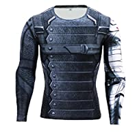 Samanthajane Clothing Born2Ride Superhero Fancy Dress/Gym/Cycling Short and Long Sleeved Compression Baselayer T-Shirt Tops (Large, New Winter Soldier Long Sleeve