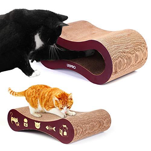 URPRO Kratzbrett für Katzen, hochwertiges Karton, 2-in-1, Kratzbrett für Katzen, Katzen, Katzenbett und Spielplatz