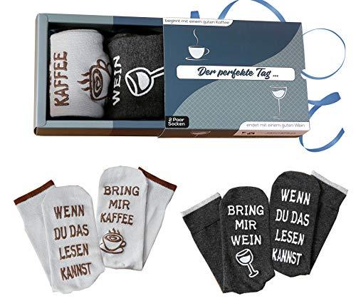 [ Wein-Socken + Kaffee-Socken Doppelpack ] Geburtstagsgeschenk für Männer und Frauen, WENN DU DAS LESEN KANNST, BRING MIR WEIN , witziges Geschenk für Frauen, Geschenk-Set Herren