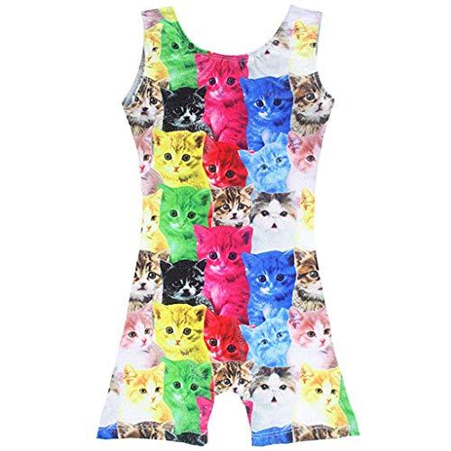 Alwayswin Kleinkind Baby Kinder Mädchen Jungen Katzen Cartoon Print Dance Unitards Kleidung Sommer Farbe Jumpsuit Ärmellos Schultergurt Overall Mode Trend Kleidung (Kind Langarm Unitard)