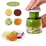 JHCtech Coupe-légumes réglable 3 en 1 en acier inoxydable 304 lames pour carotte, concombre, pommes de terre, citrouille, courgettes, spaghetti