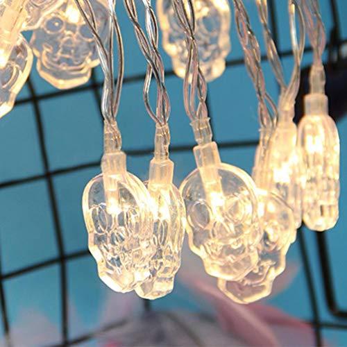 Venmo Halloween LED String Licht Schädel Wasserdicht Urlaub Geist LED Party Lichter mit Kork korken Kupferdraht Bunte Fee Mini für DIY Party Decor Weihnachten Halloween Hochzeit (Weiß)