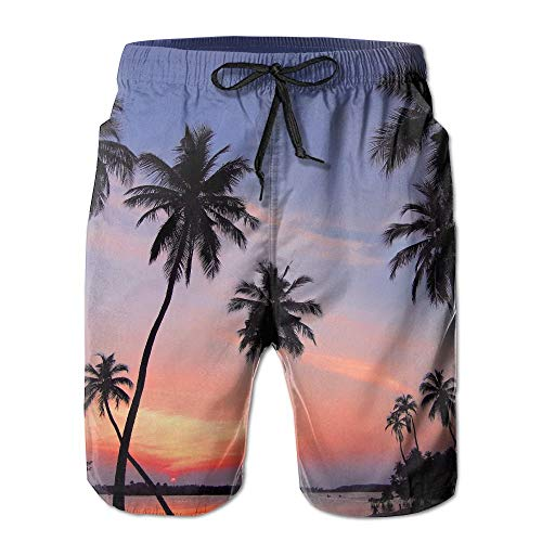 Mens Surf Beach Shorts Swim-Trunks Quick Dry Sea Sunset Palm Trees Board Shorts with Pocket SizeNme Medium (Jordan Orange Shorts)