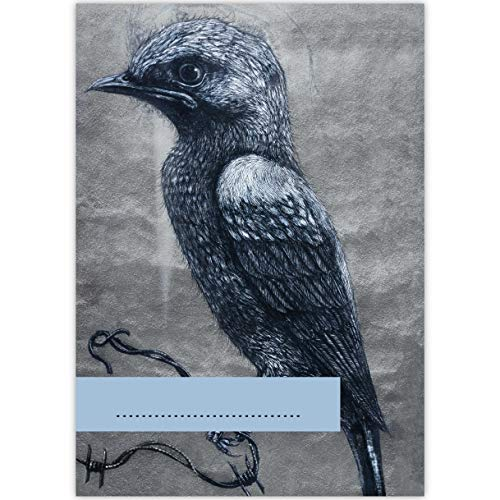 """4 Streetart DIN A3 Malblöcke\""""little crow\"""", grau • Malblock Zeichenblock Skizzen-block 25 Blatt blanko, kopfverleimt, holzfreies Qualitäts-Papier 100g/m²- für Schule, Basteln, Hobby"""