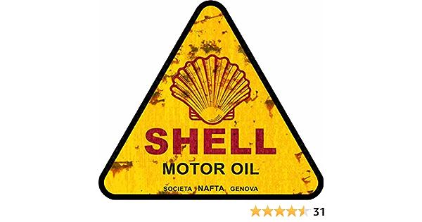 Cut It Folientechnik Design Mg023 Vintage Öl Aufkleber Ca 10x10cm Shell Oil Oldtimer Old School V8 Usa Retro Sticker Rost Look Rat Rod Hotrod Auto