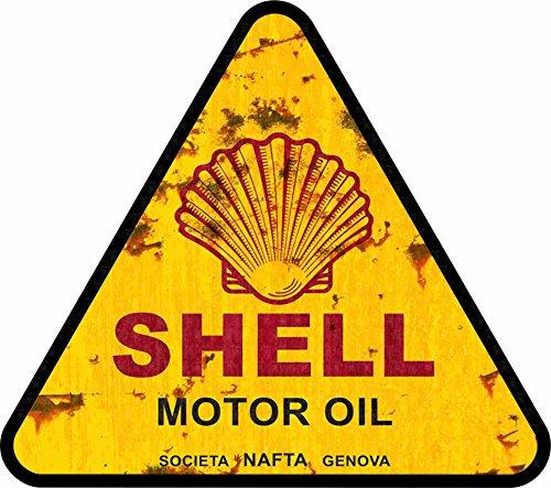 MG023 / Vintage Öl Aufkleber ca. 7,5x7cm Shell Oil Oldtimer Old School V8 USA Retro Sticker Rost Look Rat Rod Hotrod