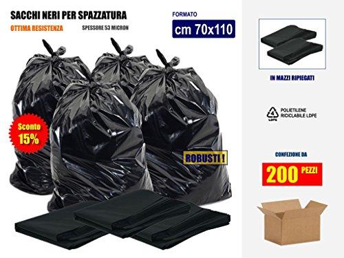 SCONTO 15% Sacchi Neri Resistenti per Rifiuti Spazzatura Immondizia Cm 70x110 (110 litri) - Scatola da 200 sacchetti - In plastica di Polietilene LdPe