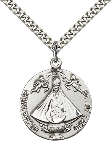 sterling-silver-senora-de-los-lagos-pendant-with-24-stainless-steel-heavy-curb-chain