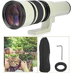 Téléobjectif Professionnel 500mm F6.3 Téléobjectif à Mise au Point Fixe pour appareils Photo Reflex numériques Reflex Blanc(for Nikon)