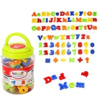 king do way 78 Pcs Magnetic Capital Lowercase Alphabet Letters Numbers Learning Toy W / Jar
