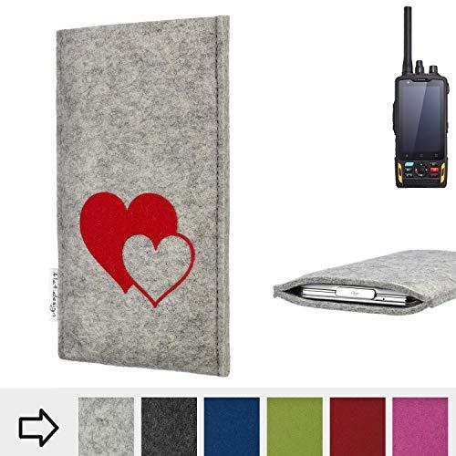 flat.design für Ruggear RG760 Handy Schutzhülle FARO mit Herzen - Handy Schutz Case Etui Made in Germany in Hellgrau rot - handgefertigte Smartphone-Tasche für Ruggear RG760