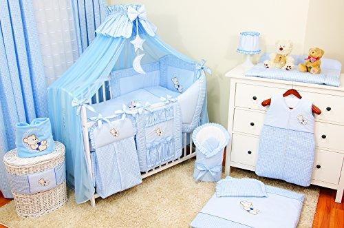 Preisvergleich Produktbild Lux4Kids Kinderbettausstattung Bett Set 135x100 Nestchen Wickelauflage Himmel & Stange Mobile Kopfkissen Spannbettlacken 03 Mond Blau
