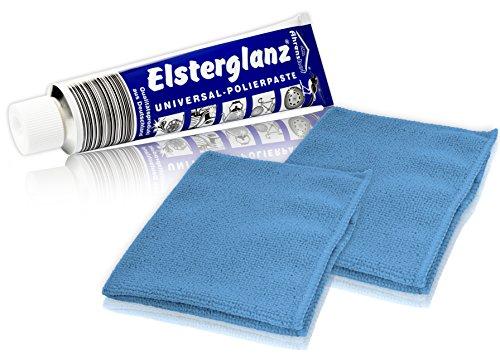 * Elsterglanz Universal-Polierpaste für Metalle XXL-Tube 150 ml + zwei Mikrofaser-Tücher | Das Original aus Deutschland