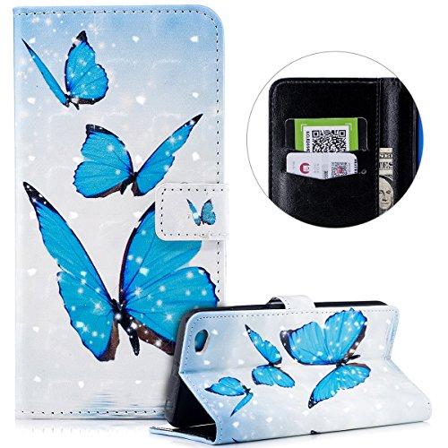 Surakey Compatible avec Coque Xiaomi Redmi Note 5A Motif Relief Etui Housse Cuir PU Portefeuille Folio Flip Case Cover Wallet Coque Protection Étui pour Xiaomi Redmi Note 5A (Papillon Bleu)