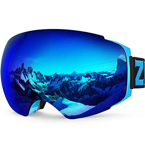 Maschera da sci, ZIONOR Lagopus X4 Snowboard Occhiali da sci 100% Protezione UV400 Anti Nebbia Magnetic Lenti cambia Durevole TPU di Ventilazione Completa per Adulti e Adolescenti