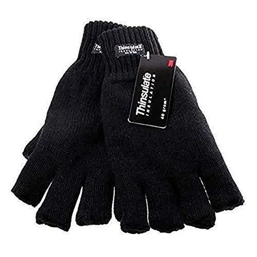 Nero Da Uomo Thinsulate Isolante 40 grammi Senza dita Fashion Guanti Disponibile in Varie Taglie - Nero, Medium / Large