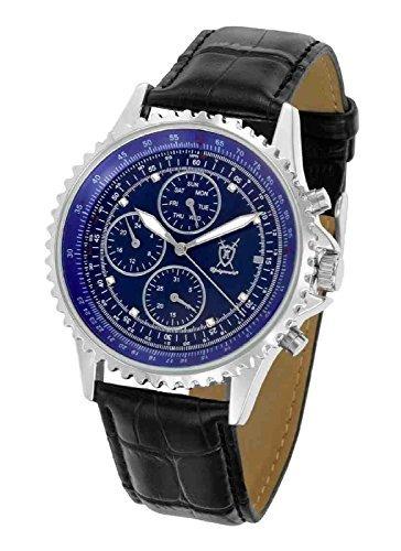 Konigswerk Herrenuhr Multifunktions-Lederband Armbanduhr blaues Zifferblatt Kristall Markierungen SQ201426G