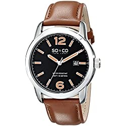 So & Co New York Madison Men's Quartz Watch with Black Dial Analogue Display and Beige Leather Strap 5011L.1