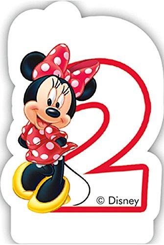 Procos Zahlenkerze 2 * Minnie Maus * für Kindergeburtstag // Kinder Geburtstag Party Numeral Birthday Candle Kuchen Deko Motto Disney Mickey Mouse Zwei Jahre