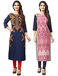 1 Stop Fashion Women's crepe straight Kurta (Pack of 2